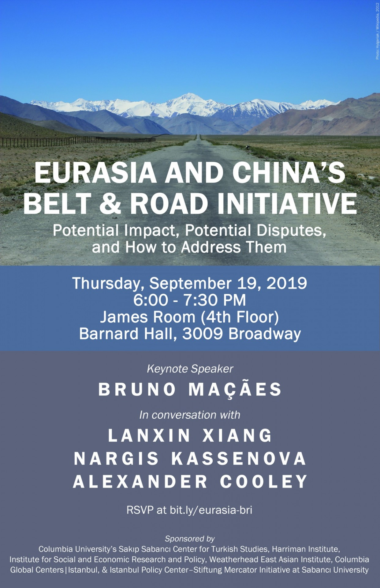 "Flyer advertising event ""Eurasia and China's Belt and Road Initiative: Potential Impact, Potential Disputes, and How to Address Them"""