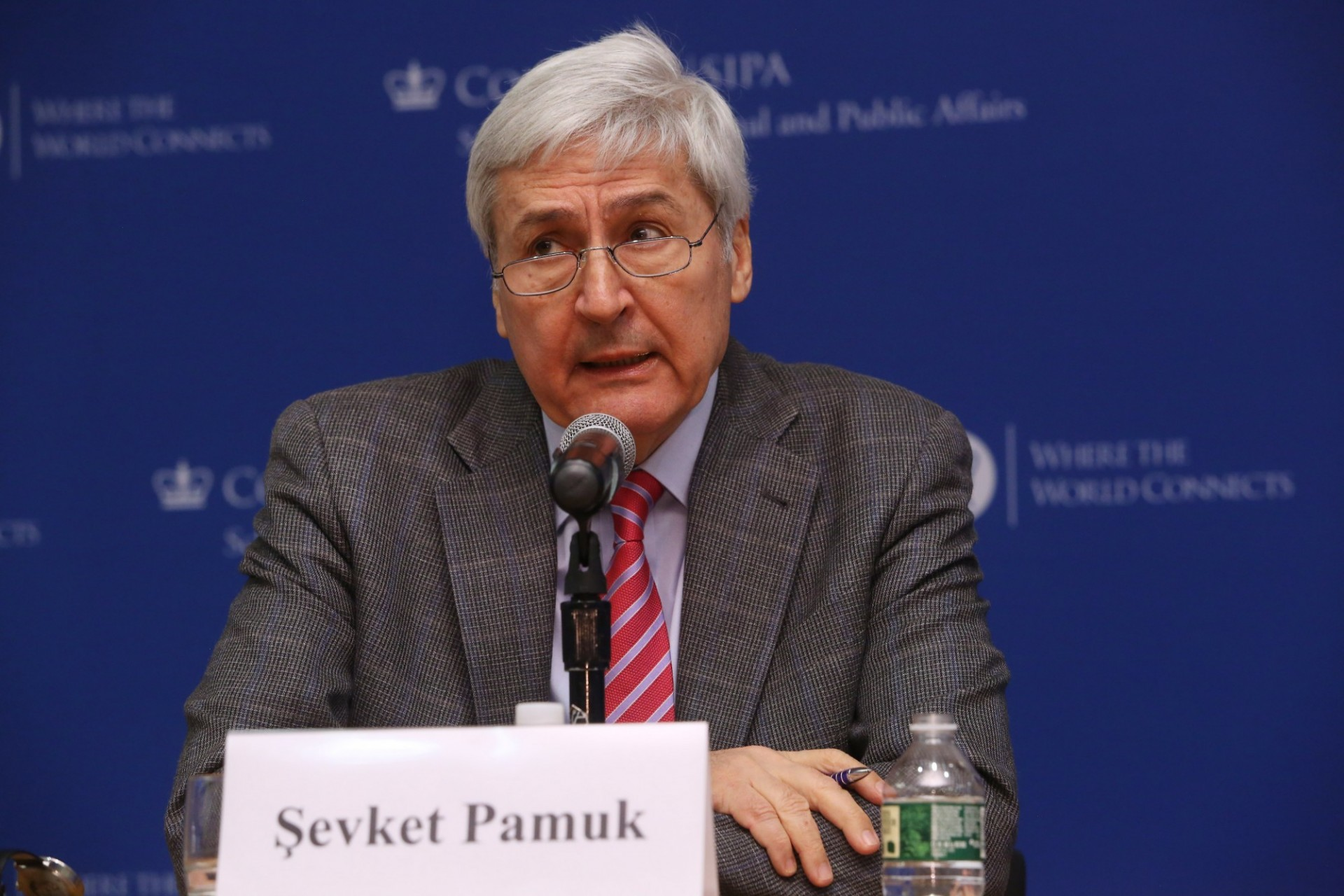 Sevket Pamuk answering questions for the Inaugural Sakip Sabanci Lecture at Columbia University